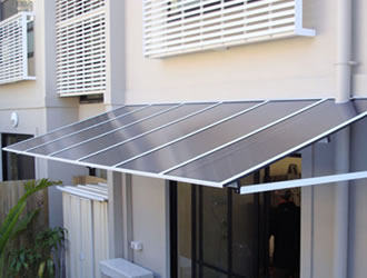 Carbolite Awnings - flat window fixed awning - ozsun shade systems - Sydney